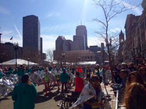 Runners getting blankets after finishing the Boston Marathon. Priscilla Liguori/ WEBN-TV